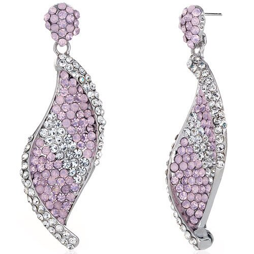 Oravo Shimmering Twist Pink Opal and Clear Dangle Earrings with Swarovski Elements