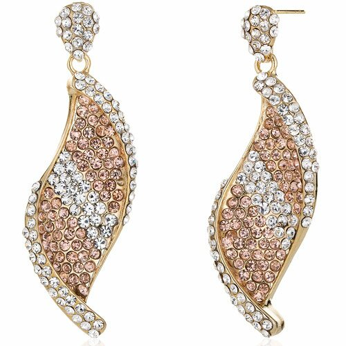 Shimmering Twist Peach and Clear Gold Tone Dangle Earrings with Swarovski Elements