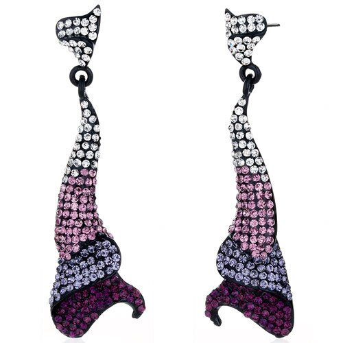 Twinkling Curves Purple Amethyst and Clear Dangle Earrings with Swarovski Elements