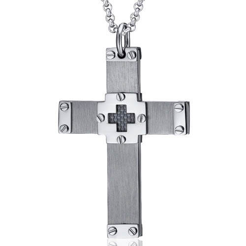 Heavy Duty Riveted Carbon Fiber Stainless Steel Cross Pendant Necklace for Men