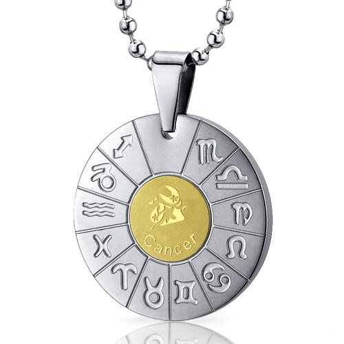 Oravo Cancer Crab Sign Zodiac Symbol Stainless Steel Circle Pendant Necklace