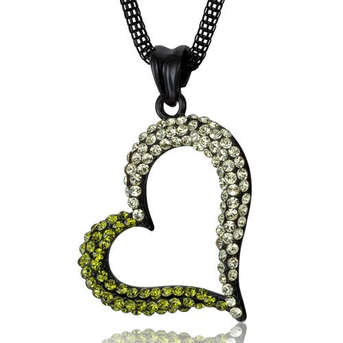 Fashionable Love Tilted Heart Jonquil and Olivine Swarovski Crystal Pendant Necklace
