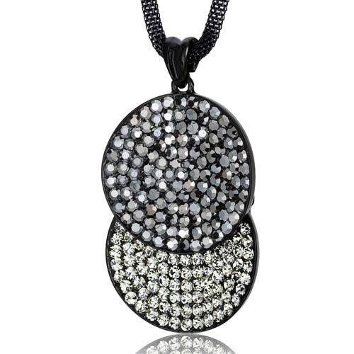 Oravo Overlapping Circles Hematite and Black Diamond Swarovski Crystal Double Circle Pendant Necklace