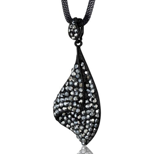 Twinkling Shell Design Hematite Swarovski Crystal Pendant Necklace