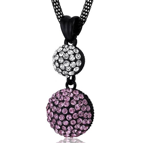 Oravo Double Disco Ball Pink and Clear Swarovski Crystal Pendant Necklace