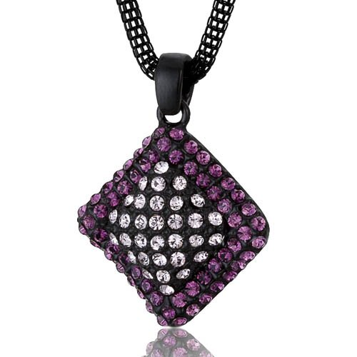 Oravo Wavy Diamond Design Amethyst and Pink Swarovski Crystal Pendant Necklace