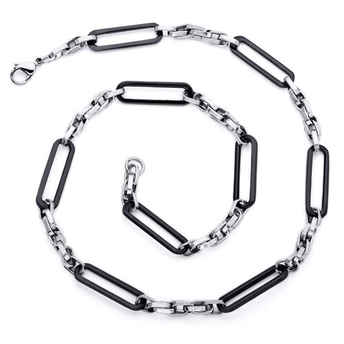Men's 22 inch Black Stainless Steel Fancy Link Necklace