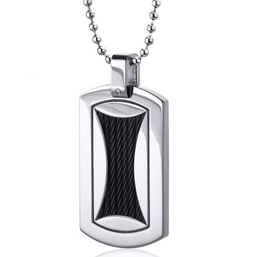 Black Twisted Cable Dog Tag Style Titanium Pendant