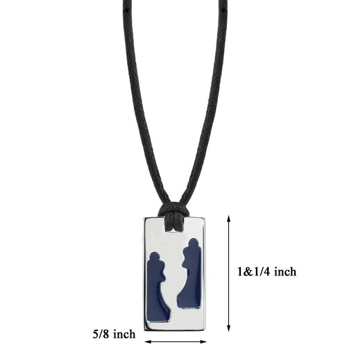 Oravo Two Queens Designer Inspired Surgical Steel High Polished Finish Two Blue Queens Tag Pendant on a Black Cord