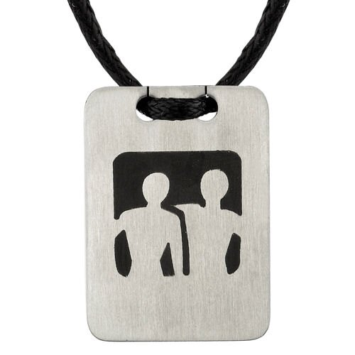 Silhouette Style Designer Inspired Surgical Stainless Steel Tag with Two Men on a Black Cord ...