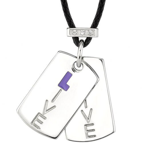 Oravo Live with Spirit Surgical Stainless Steel High Polished Finish Dog Tag Pendant Engraved with Live and Accented with CZ