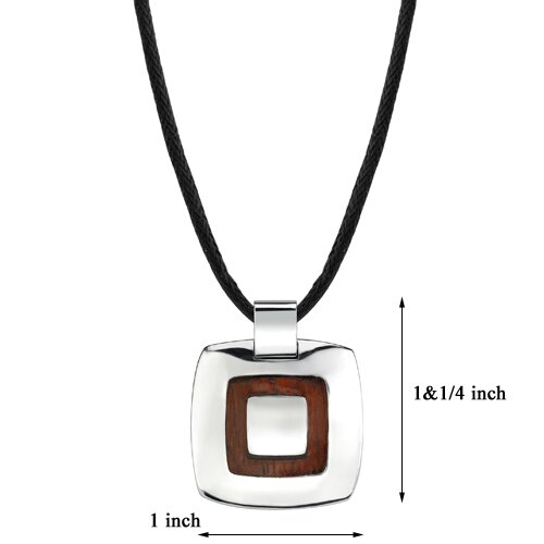 Oravo Extraordinary Style Designer Inspired High-Polish Surgical Stainless Steel and Redwood Finish Pendant on a Black Cord