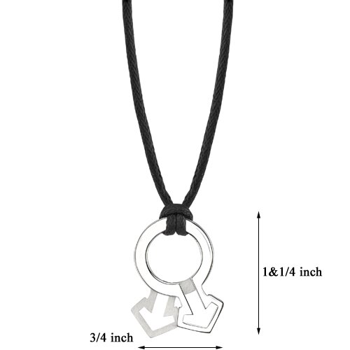 Oravo Fabulous Style High Polished and Satin Finish Surgical Stainless Steel Male Mars Symbol Pendant on a Black Cord