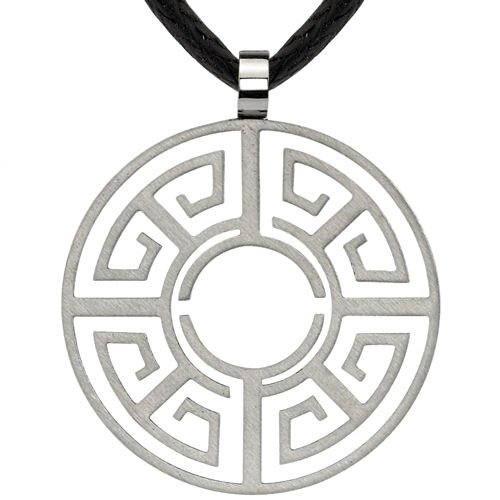 Creative and Elegant Designer Inspired Brushed Finish Titanium Greek Key Design Openwork Circle ...