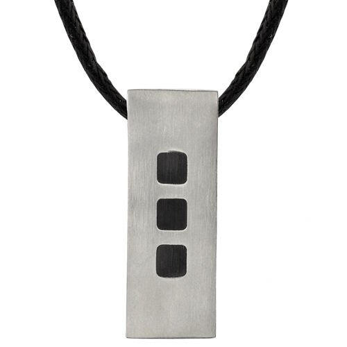 Strong and Sporty Designer Inspired Rectangular Titanium Tag Pendant with Black Rubber Squares ...