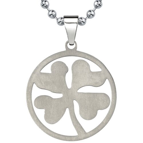 Style with Little Luck Titanium Brushed Finish Four-leaf Clover Pendant on a Stainless Steel ...