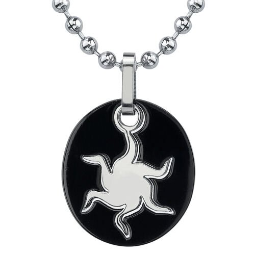 Brilliant Fashion Designer Inspired Gunmetal-finish Titanium Oval Sun Pendant on a Stainless ...