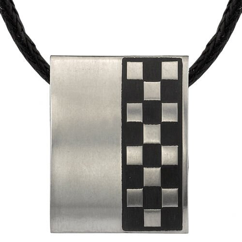 Sleek and Sophisticated Titanium Brushed Finish Rubber Rectangular Bar Pendant on a Black Cord ...
