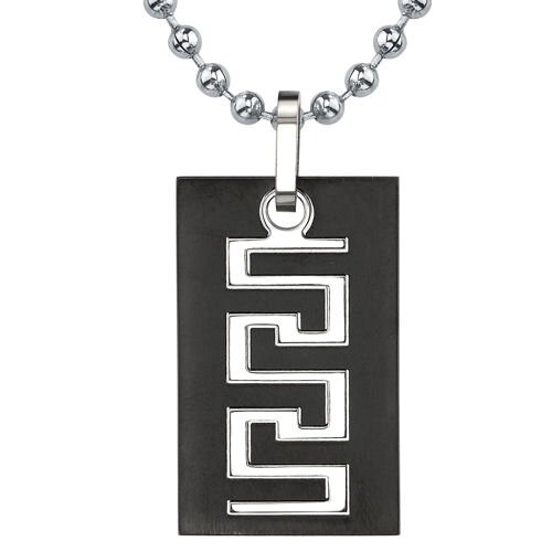 Personality and Distinction Titanium Gunmetal Finish Greek Key Dog Tag Pendant for Men on a ...