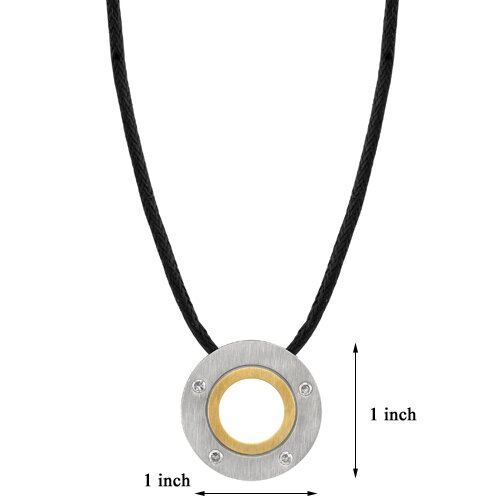 Oravo Distinguished and Trendy Designer Inspired Titanium Dual-tone Brushed Finish Disc Pendant on a Black Cord for Men