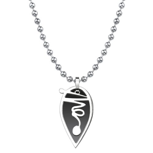 Oravo Different Strokes Surgical Stainless Steel Teardrop Dual-tone Gunmetal Squiggle Pendant on Steel Ball Chain for Men