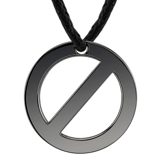 Fast-lane Fashion Designer Inspired Surgical Stainless Steel Gunmetal Finish Circle Pendant on ...