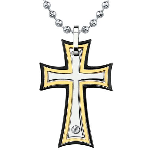 Medieval Power Surgical Stainless Steel Gold-finish Cross Pendant on a Stainless Steel Ball ...