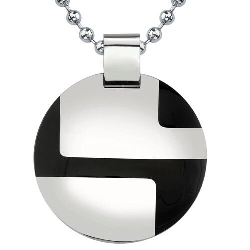 Perfection in Style Surgical Stainless Steel Enamel-finish Disc Pendant on a Stainless Steel ...