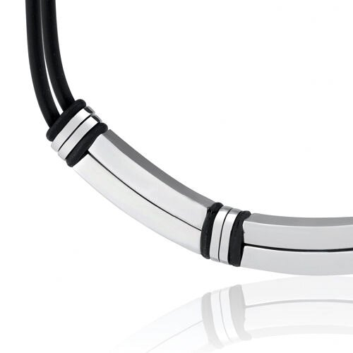 Oravo Contemporary Statement Stainless Steel Bar-link and Rubber Cord Necklace for Men