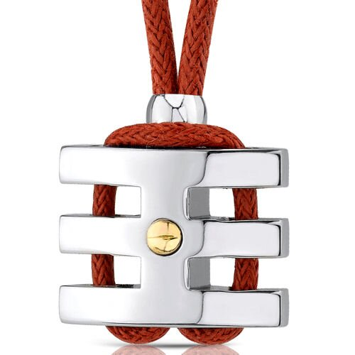 Oravo Handsome and Strong Stainless Steel Coiled-style Gold-plated Rivet Pendant on a Red Wax Cord for Men