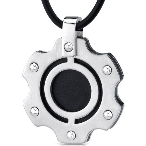 Oravo Heavy-duty Fashion Stainless Steel with Black Enamel-finish Pendant on a Rubber Cord for Men