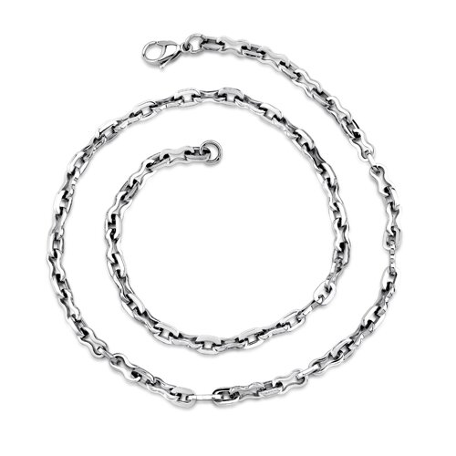 Classic Mens High Polished Stainless Steel Link Necklace