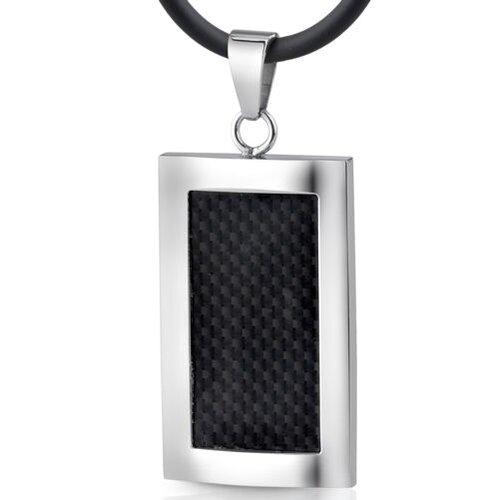 Italian Style Black Carbon Fiber Pendant Necklace for Men