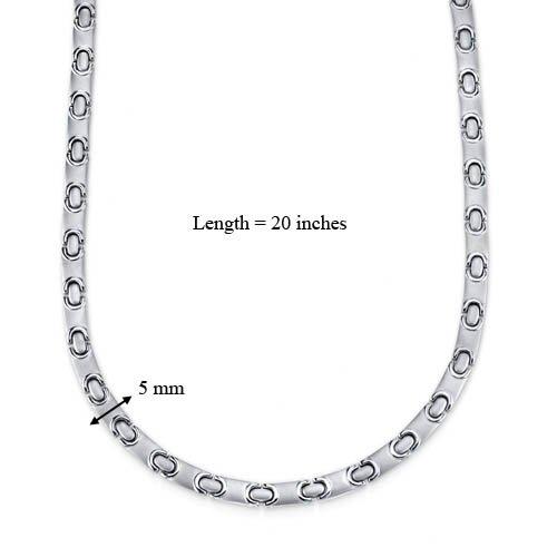 Oravo Amazing Style Titanium Mens Flat Link 20 inch Chain Necklace
