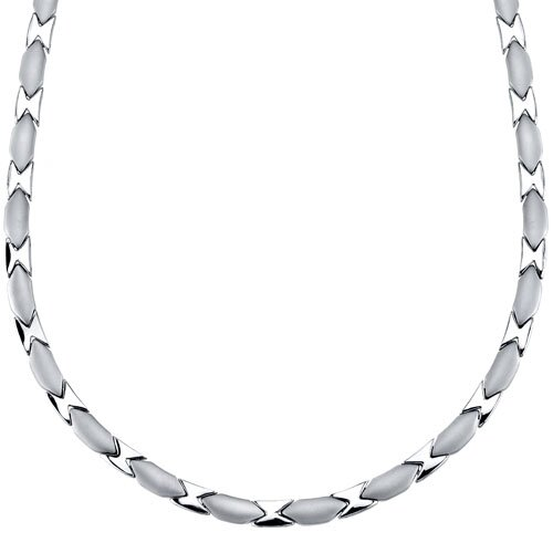 Sleek and Handsome Titanium Mens Flat V Shaped Link 20 inch Chain Necklace