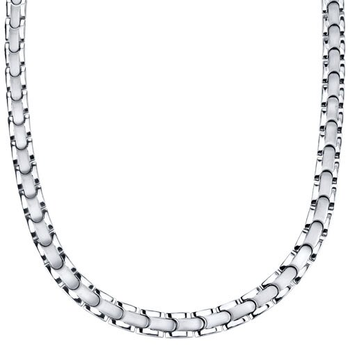 Smooth Style Titanium Mens Two Tone Flat Link 20 inch Chain Necklace