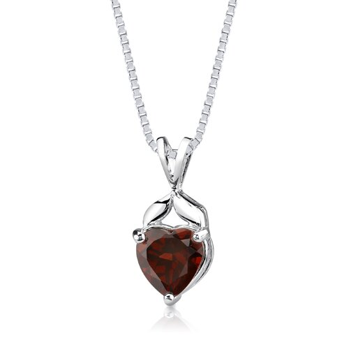 Oravo 3.25Ct Heart Shape Garnet Pendant in Sterling Silver