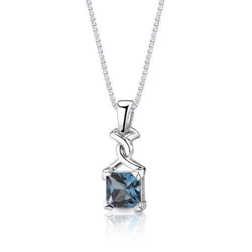 Oravo 2.75 cts Princess Cut London Blue Topaz Pendant in Sterling Silver