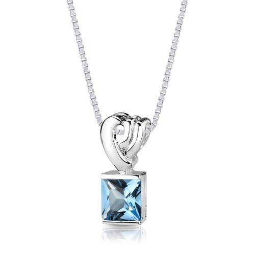 Oravo 2.75 cts Princess Cut Swiss Blue Topaz Pendant in Sterling Silver