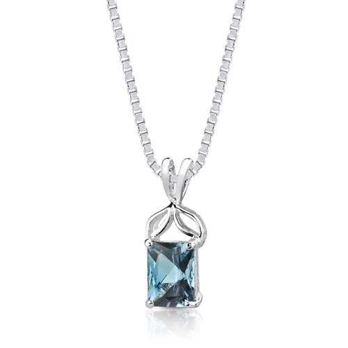 Oravo 1.75 cts Radiant Cut London Blue Topaz Pendant in Sterling Silver