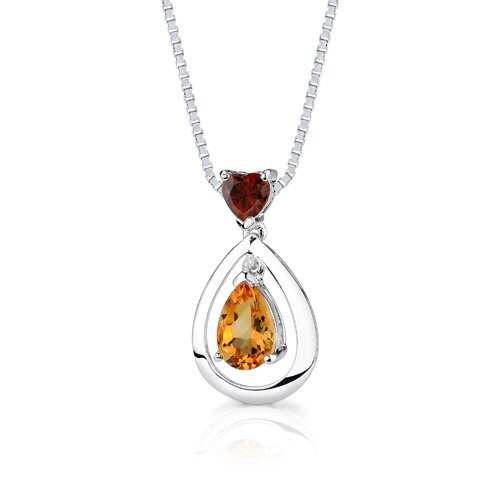 Oravo 1.50Ct Heart Pear Shape Garnet Citrine Pendant in Sterling Silver