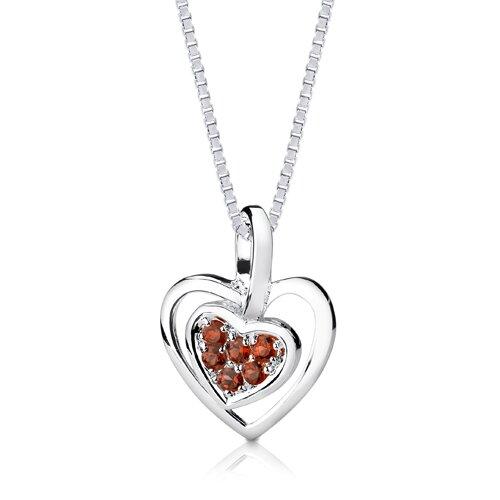 Oravo 0.50ct Round Cut Garnet Heart Pendant in Sterling Silver