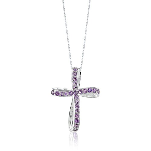 Oravo 1.25ct Round Cut Amethyst Cross Pendant in Sterling Silver
