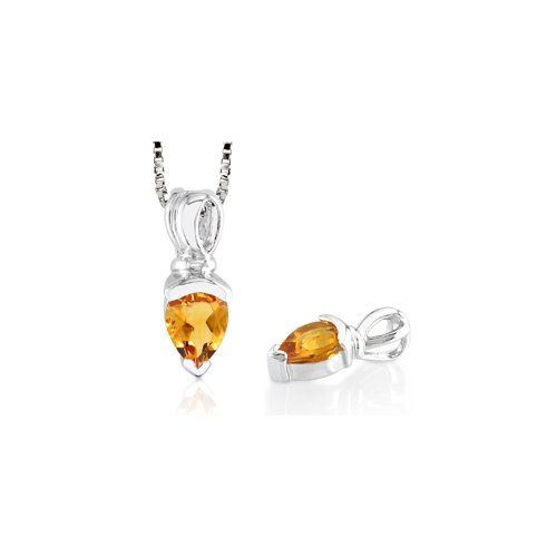 Pear Cut Citrine Pendant in Sterling Silver