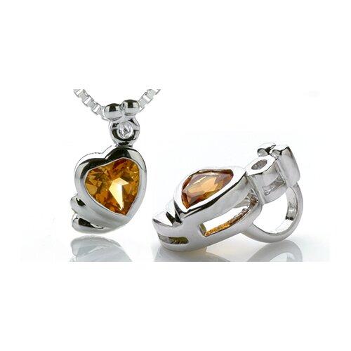 Heart Cut Citrine Pendant in Sterling Silver