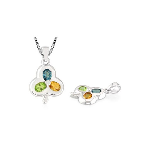 Oravo Oval Cut London Blue Topaz Peridot Citrine Three-Stone Pendant in Sterling Silver