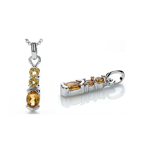 Oravo Oval Round Cut Citrine Pendant in Sterling Silver