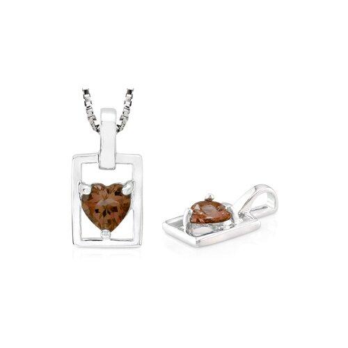 Heart Cut Smoky Quartz Pendant in Sterling Silver