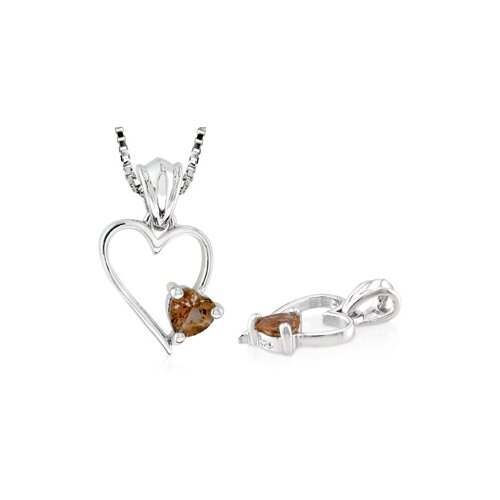 Heart Shaped Smoky Quartz Pendant in Sterling Silver