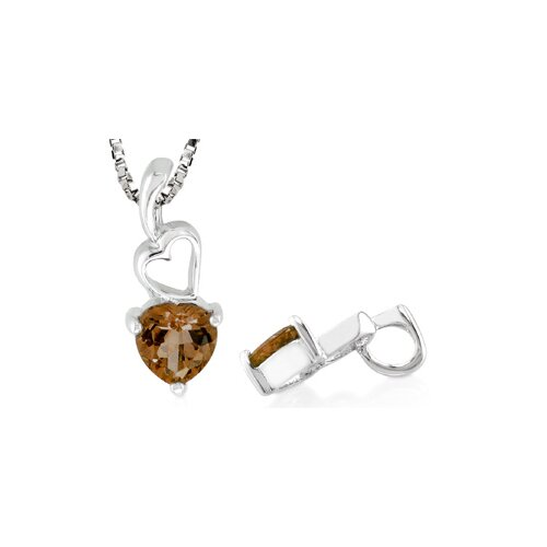 Oravo Heart Shaped Smoky Quartz Pendant in Sterling Silver